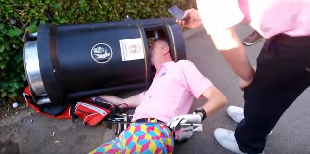 drunk golfer gets head stuck in bin